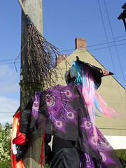 Don't Text And Fly (Nekoglyph) Tags: hinderwell scarecrow festival 2016 yorkshire text phone flying crash accident witch peacock feathers pointyhat black purple blue cables telegraphpole wires chimney sky roof hair broomstick