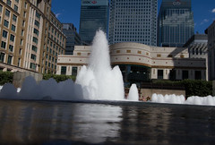 The Cut to the Thames August 2016 (21 of 42) (johnlinford) Tags: canarywharf canon canonefs1022 canoneos7d docklands fountain fountains london reflection reflections uk urban landscape
