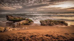 The beach (Chas56) Tags: beach sea seaside seascape landscape waves ocean greatoceanroad gibsonssteps sand rocks sunset footprints canon canon5dmkiii serene shore reef water ngc