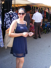 Nina - Looking for something special at the Market in Belgrade (seanfderry-studenna) Tags: ninamarket stalls belgrade beograd serbia srbija balkans balkan republic europe european eu blue dress summer august 2016 handbag sun sunglasses candid public female woman girl lady girlfriend fiancee wife married happy smile smiling reflection culture tan tanned bare skin legs arms face mouth pink lips throat neck hands fingers beauty beautiful gorgeous stunning style stylish charm charming serb standing walking hot shade shadow people person outdoor outside