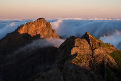Emerging from the Clouds (Aymeric Gouin) Tags: madeira madère portugal europe montagne mountain landscape paysage landschaft paisaje sunrise light lumière clouds nuages pico nature hike randonnée travel voyage olympus omd em10 aymgo aymericgouin peak summit morning