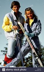 sports-winter-sports-ski-man-and-woman-with-ski-gear-half-length-1980s-GBWGEK (onesieworld) Tags: retro ski snow fashion sport sexy woman lady girl snowsuit skisuit onepiece onesie jumpsui fetish kink catsuit shiny nylon