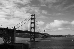 means to an end (edwardpalmquist) Tags: sanfrancisco california architecture bridge goldengate mountain ocean sky clouds blackandwhite monochrome boat ship travel outdoors city urban water nature