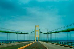 The Gate to Uppers (Always Shooting) Tags: road bridge blue orange usa lake green mi canon eos canoneos mackinacbridge canoneosrebel michgan canoneosrebelt3