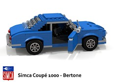 Simca Coup 1000 Bertone (1962) (lego911) Tags: auto birthday france classic car sport french model lego render 1200 1960s 7th coupe 1962 challenge 1000 cad 43 lugnuts simca povray 84 1200s moc giugiaro bertone ldd miniland giorgetto sportives lego911 lugnutsturns7or49indogyears plusorminus10