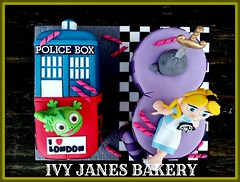 NO. 18 (MIXED THEME) (Ivy Jane's Bakery) Tags: birthday london cake mixed 18th doctorwho drwho tardis pascal 18 aliceinwonderland eighteen supernatural cheshirecat tangled londonbus swordinthestone no18