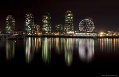 Vancouver nights (Zorro1968) Tags: ocean water skyline night vancouver buildings bc highrise falsecreek scienceworld telusworldofscience greenlights