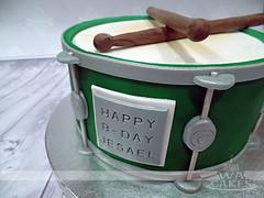 Green Drum Birthday Cake (MamaWaCakes) Tags: chicago green cakes cake sticks drum fondant gumpaste customcake