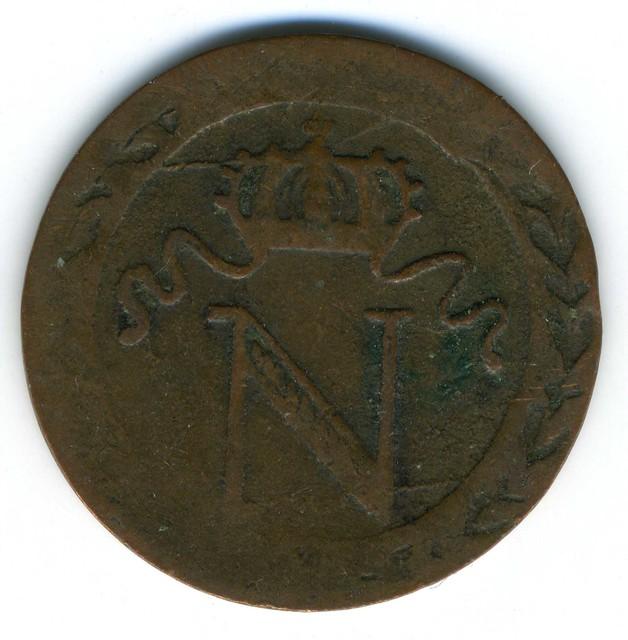 Nantes, fausse pièce de 10 centimes de Napoléon Ier (1804-1815), frappée vers 1810 avers (photo : Gildas Salaün).