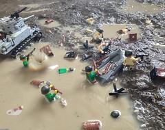 ''Get off that goddamn mudhole'' Alternate shot (JustOver4CmTall (Invictus-Parabellum)) Tags: usa water rain outside war gun tank lego jeep helmet battle landing ww2 willy brickarms