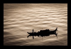 The Fisherman (Trent's Pics) Tags: water sunrise river boat fisherman cambodia waves phnompenh mekong mekongriver