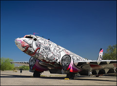 funky lady (Paucal) Tags: pink blue arizona sky usa museum plane lost grey tucson space air group funky motors pima hasselblad chrome maintenance propellers polarizer aerospace regeneration hassy amarg 309th cfe80 cfv39