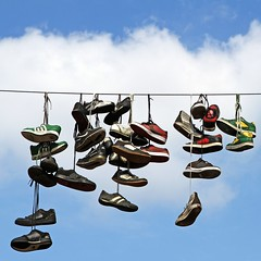 How many shoes can fit into the sky? (joaobambu) Tags: sky out shoes stock himmel sneakers cielo hanging schuhe sapatos flensburg gettygermanyq4