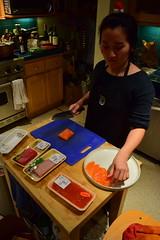 Chef Haruna Slices Salmon (jjldickinson) Tags: food fish cooking dinner table sashimi knife salmon longbeach sake seafood wrigley tuna ikura cuttingboard yellowtail hamachi salmonroe chutoro nikond3300 harunayamazaki promaster52mmdigitalhdprotectionfilter 101d3300 nikon1855mmf3556gvriiafsdxnikkor