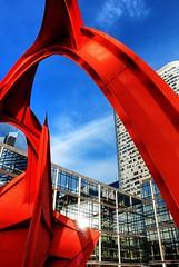 The Red Spider (manakel) Tags: red sculpture seine de rouge la spider district steel grand calder alexander financial defense 1976 araigne stabile monumentale quartier acier affaire hauts manakel