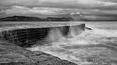 A Three Second Cobb (Nigel Jones QGPP) Tags: longexposure sea england bw water wall harbour smooth dorset cobb breakers lymeregis nd110