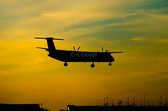 Air Canada Express (cegoyer) Tags: sunset canada plane airplane photography montreal aviation air jazz landing express aca ac spotting jz dash8 yul bombardier spotters q400 cyul jza