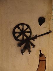 PC073631 (signaturen) Tags: dog chien streetart paris umbrella graffiti pig sticker montmartre urbanart hund murales schwein parapluie porc