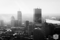 Boston Aerial with the Prudential Center (Dane Cronin) Tags: blackandwhite snow boston canon massachusetts cities cityscapes aerial backbay prudentialcenter 2015 bostonwinter 5dmark3 bostonaerials