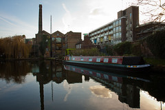 Canal Reflections (Shane_Henderson) Tags: sunset england reflection london water buildings canal unitedkingdom lock january islington 2012 canalboat canonefs1755mmf28isusm canoneos40d