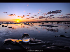 -----O__o__------ (Kevin HARWIN) Tags: uk sunset red sea england sun beach water canon ball eos kent sand south sigma east 1020mm whitstable glas yello 60d