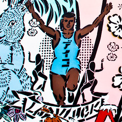 Victorious (Thomas Hawk) Tags: usa graffiti stencil mural unitedstates florida miami unitedstatesofamerica aiko wynwood ladyaiko wynwoodwalls thewynwoodwalls