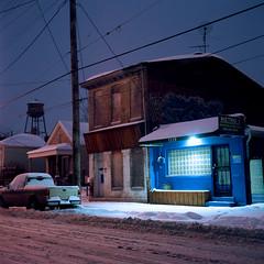 Logan Street, Louisville (deatonstreet) Tags: winter snow 120 film night kodak kentucky louisville 100 automat flexaret ektar