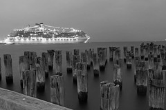 Princes Pier and Carnival Spirit (Karen Tregoning Photography) Tags: ocean blackandwhite bw pier cruiseship portmelbourne bnw melboune oldjetty portphillipbay oldpier stationpier carnivalspirit princespier