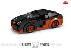 Bugatti Veyron Super Sport (Speed Champions 1:37) (lego911) Tags: world auto records car sport vw volkswagen model break lego lets render ss go some super turbo record 88 bugatti coupe supercar challenge holder cad w16 lugnuts 2010 veyron povray faster moc ldd hypercar foitsop lego911 speedchampions letsgobreaksomerecords