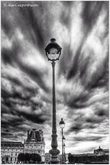 Louvre lamp posts (alcowp) Tags: sky bw paris france monochrome weather museum clouds louvre nb lamps fra musedulouvre