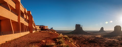 Waking up in the morning to this... (danielacon15) Tags: morning travel blue sky panorama nature outdoors early utah unitedstates natural landmarks scene erosion serene moment monumentvalley sunrays mesas buttes navajotribalpark traveldestination