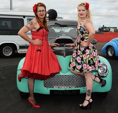Rachael & Melanie_7048 (Fast an' Bulbous) Tags: girl girls woman women hot sexy car vehicle automobile willys coupe v8 fast speed power drag race strip track pits santa pod dragstalgia england people outdoor