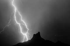 Picacho Peak (Mike Olbinski Photography) Tags: 20160727 canon135mm20l canon5dmarkiii arizona blackwhite desert lightning monsoon mountains picachopeak rain stormchasing thunderstorm