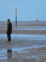 DSCF0681 (SierPinskiA) Tags: sea shells beach liverpool sand ironman pools barnacles ironwork mayday seashore merseyside anthonygormley irishsea 2016 anotherplace crosbybeach blundellsands fujixs1