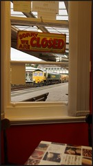 'Open all hours' (peterdouglas1) Tags: windows train cafes networkrail bangorstation ballastcleaning