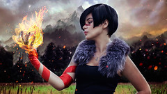 bludfire (katielovefood) Tags: fantasy forest sky mountains fire magic dragon age dragonage hawke woman girl magician warrior blood ligth beaty art cute game photo photoshop picture red purple green marianhawke marian cosplay championofkirkwall champion makeup fantastic summer russia field