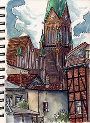 little backyards (connykunze) Tags: watercolor sketchbook vacation drawing travelsketching halftimbered house view cathedral schwerin mecklenburgvorpommern germany fineliner illustration