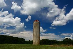 Silo (davidwilliamreed) Tags: old rusty crusty metal silo greengrass greentrees bluesky whiteclouds field rural farm