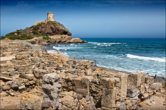 nora (heavenuphere) Tags: nora pula provinceofcagliari cagliari sardegna sardinia sardinie italia italy europe island roman preroman town archaeological site landscape rocks tower lighthouse mediterranean sea water blue sky 24105mm