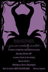 Maleficent Invitation 1 (maddieandmarry) Tags: roses black halloween silhouette costume vines weeds purple horns evil disney invitation swirls thorns mistress villain sleepingbeauty maleficent