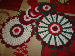 Christmas time (Vecilija's Corner) Tags: christmas vintage handmade crochet cotton christmasdecor coasters potholders heklanje