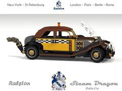 Ralston Steam Dragon Public Car (lego911) Tags: auto car vintage model dragon lego cosplay render smoke steam coal veteran universe 86 challenge boiler ralston cad lugnuts povray steampunk moc condenser ldd miniland motorworks lego911 steampunkmotorworks