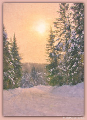 The Road Home (edispicsoriginal) Tags: road trees winter sunset snow cold quebec laurentians valdeslacs
