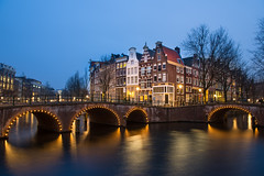Amsterdam by night (Jamie Frith) Tags: bridge holland netherlands amsterdam night canal nikon bluehour keizersgracht d800 leidsegracht 2470