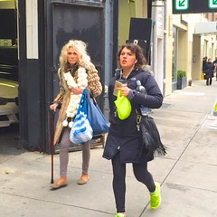 Woman with a cane (Ed Yourdon) Tags: newyork cane manhattan iphone yellowsneakers iphone6 iphone6plusbackcamera415mmf22