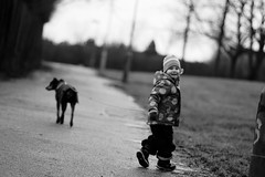 When taking a walk is so much fun (manuel ek) Tags: bw dog storm girl rain contrast lens prime fuji sweden walk manual nikkor ais 105mm xt1