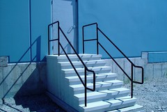 Commercial Stairs with Dbl Pipe Handrails