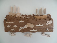 Ships and whale scene 2015 (Wanda Sowry) Tags: ocean wood sea colour toy handle shark boat moving wooden movement marine waves ship natural parts cam whale rough cog mechanism automata automaton gelleon