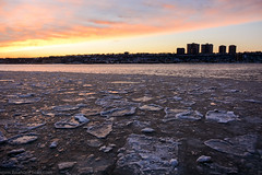 West Harlem Piers (BrianGoPhoto) Tags: nyc newyorkcity sunset sky newyork cold ice water silhouette river photography frozen newjersey apartments harlem manhattan jersey hudsonriver hudson apartmentbuildings westharlempiers