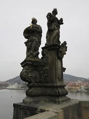 st margarita statue (squeezemonkey) Tags: bridge statue river religious catholic prague czechrepublic charlesbridge stmargarita